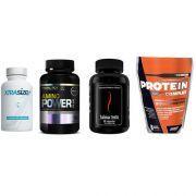 Combo Massa Muscular 7 - Amino Power - 150 Tabletes - Probiótica + Halovar Testo - 60 Cápsulas - Intlab + ProteinComplex Premium - 900g - New Millen + Xtrasize - 60 Cápsulas