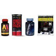 Combo Massa Muscular 8 - BCAAs - 100 Cápsulas - GT Nutrition + Alpha Max - 60 Cápsulas + Monster Nitro Pack NO2 - 44 Packs - Probiótica + Maltodextrin - 1Kg - Health Labs
