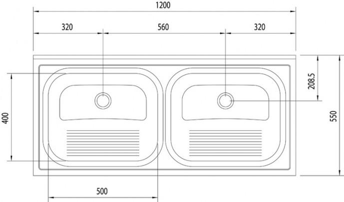 94405/117 Tanque Duplo 120x55 - Tramontina  - COLAR