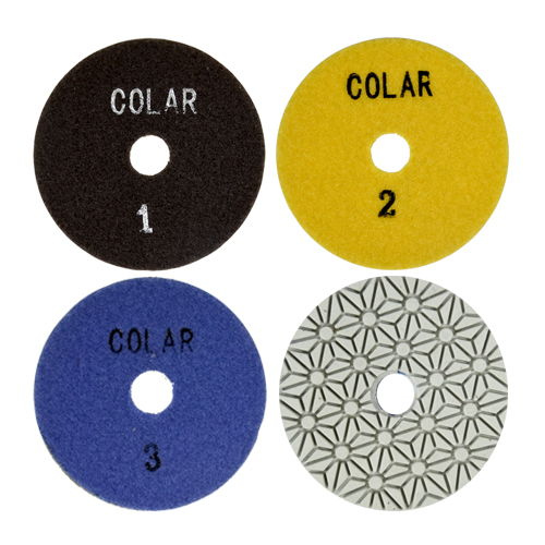 Disco de Polimento Flexível Estágio 1 - 2 - 3 para Mármores 100mm - Colar  - COLAR