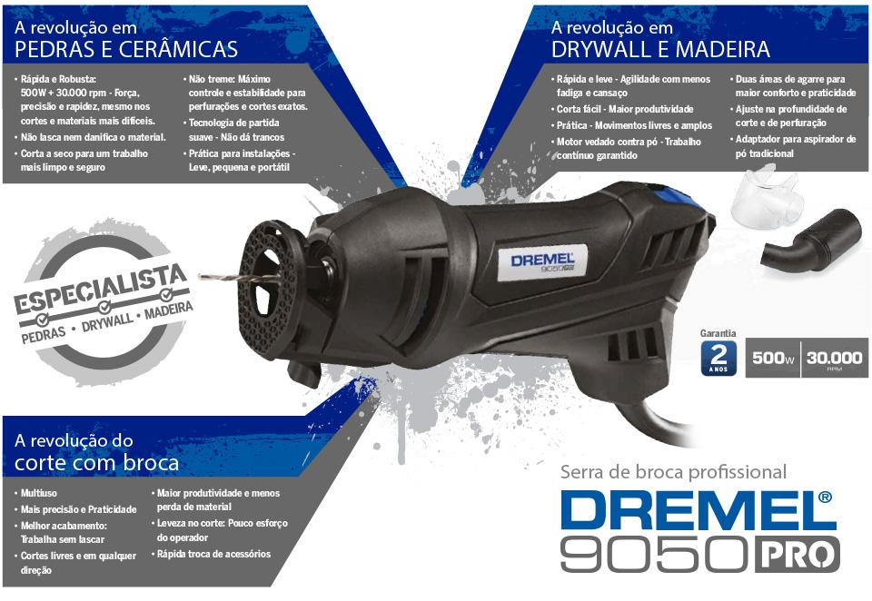 Dremel Serra Broca 9050 PRO Kit 02 para Pedras e Cerâmicas - 220V - Bosch  - COLAR