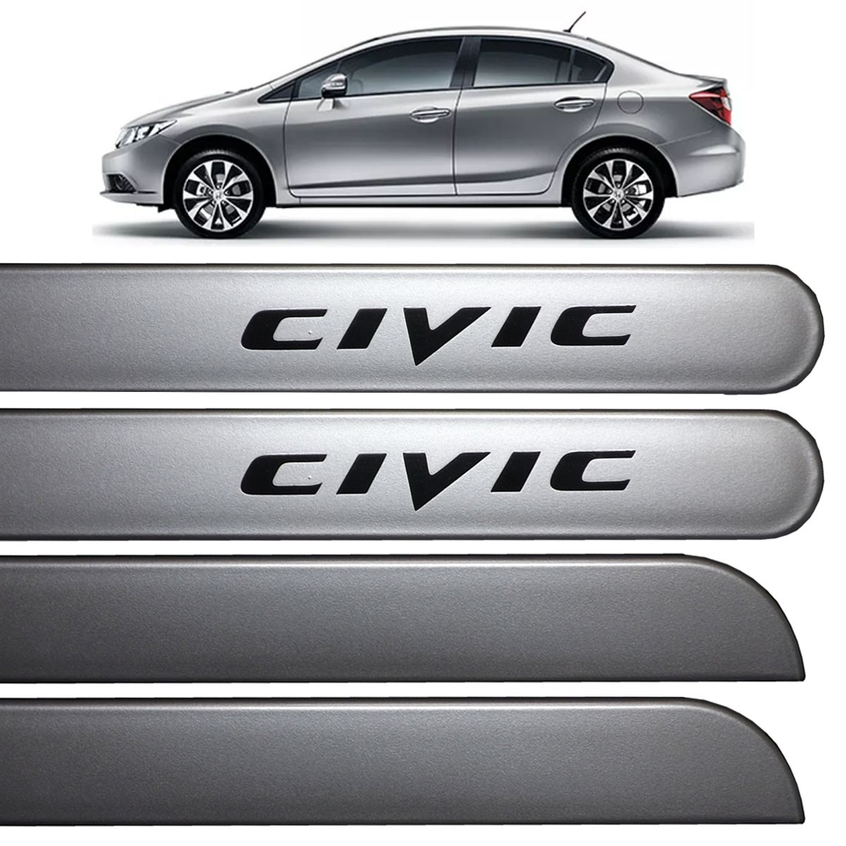 Jogo Friso Lateral New Civic 2012 até 2017 Prata Global