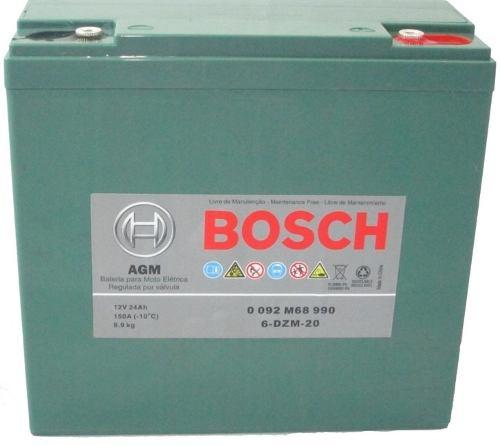 Kit 3un Bateria Bosch Gel 24ah 12v Ciclo Profundo 6-dzm-20 Bike