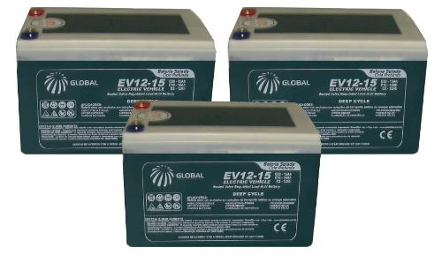 Kit 3 Bateria Gel 12v 15ah 6-dzm-12 Bike Elétrica Skate 36v