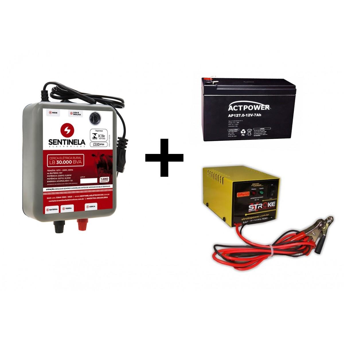 Kit Eletrificador Cerca Rural 30km + Bateria Gel 7ah 12v Vrla + Carregador 3ah