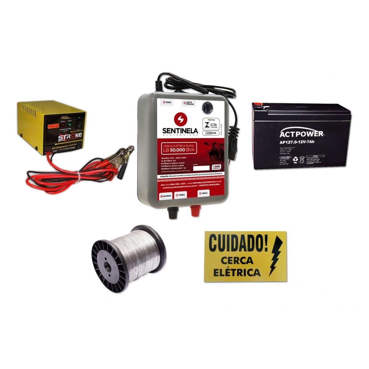 Eletrificador Cerca Rural 50km + bateria 7ah Vrla+ Carregador 3ah + arame + placa