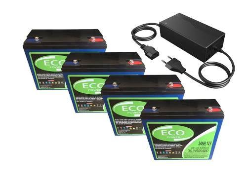 Kit 4 Bateria 12v 24ah Carregador Bike 48v Ciclo Profundo