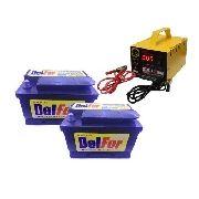 Kit 2 Bateria Estacionária 60ah Nobreak Carregador 5ah 24v