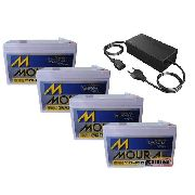 Kit 4 Bateria Moura 12v 9ah Carregador 48v 2ah Patinete Bike