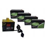 Kit 4un Bateria Gel 15ah 12v Ciclo Profundo + Carregador Inteligente 5ah 48V