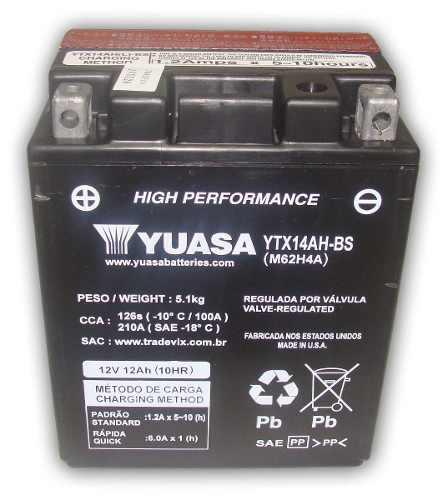 Bateria de Moto Yuasa Ytx14ah-bs 12ah 12v Selada