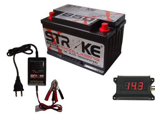 Kit Bateria Som Stroke Power 100ah Voltimetro Digital Carregador Inteligente Flutuante 2ah 12v