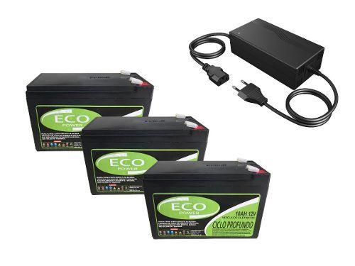 Kit 3 Bateria 6dzm10 12v 10ah Bike Eletrica Carregador 36v