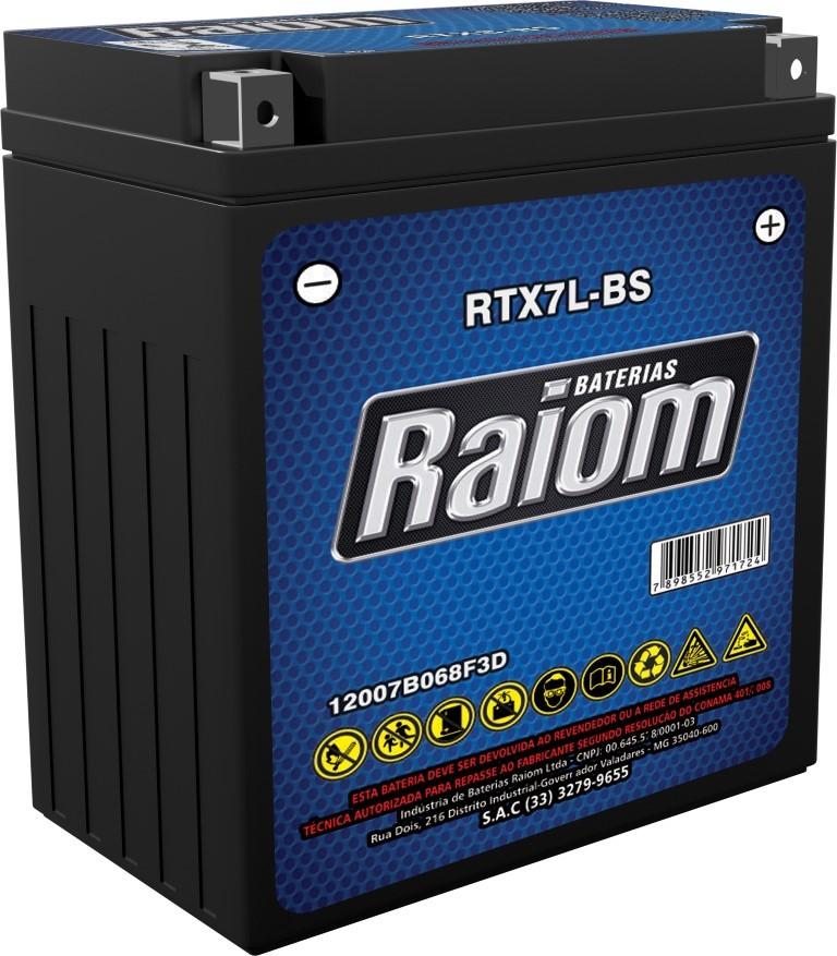 Bateria de Moto Raiom Ytx7l-bs 12v Selada (Rtx7l-bs)