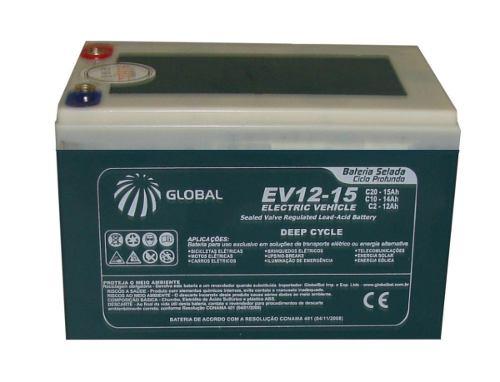 Bateria Gel Global 12v 15ah 6-dzm-12 Moto E Carro Elétrico.