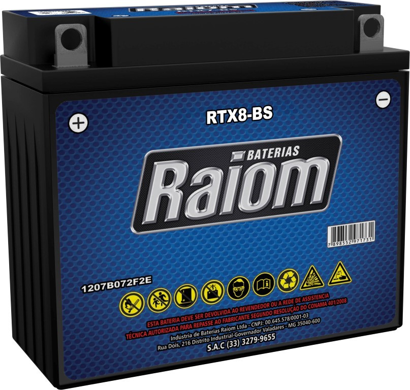 Bateria de Moto Raiom Yb7b-b 7ah 12v Selada (Rtx8-bs)