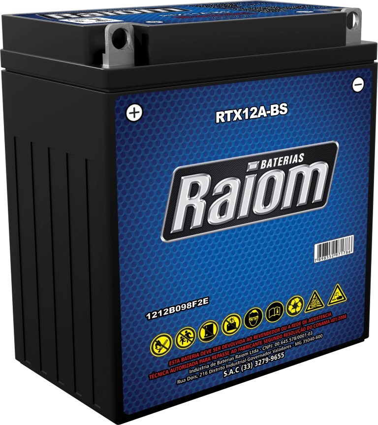 Bateria de Moto Raiom Ytx12a-bs 11ah 12v Selada (Rtx12a-bs)