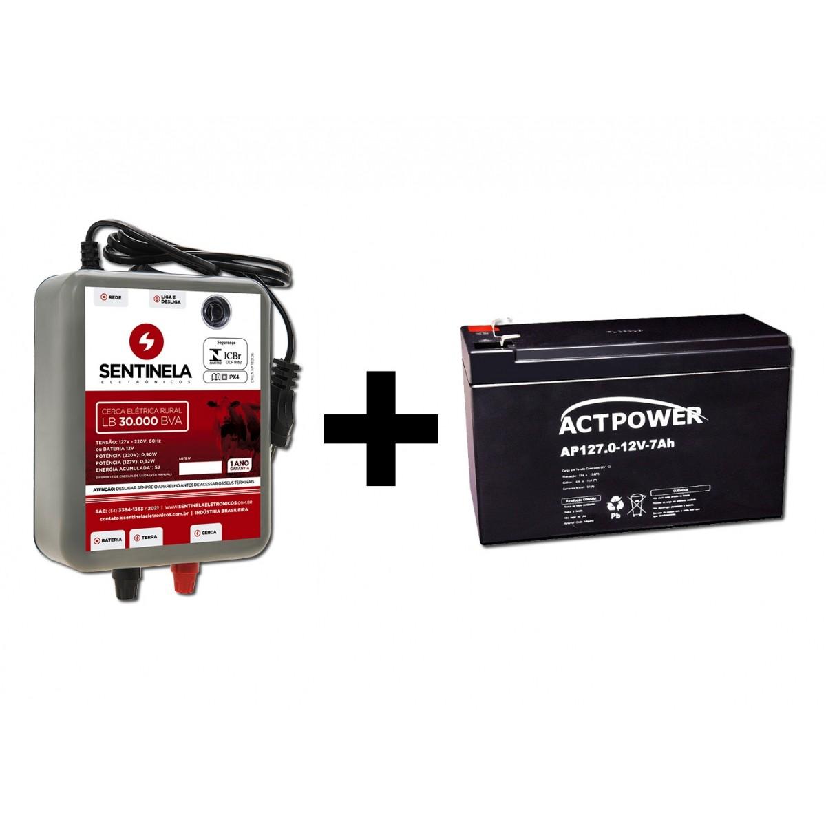 Eletrificador Cerca Rural 30km + Bateria Gel 7ah 12v Vrla