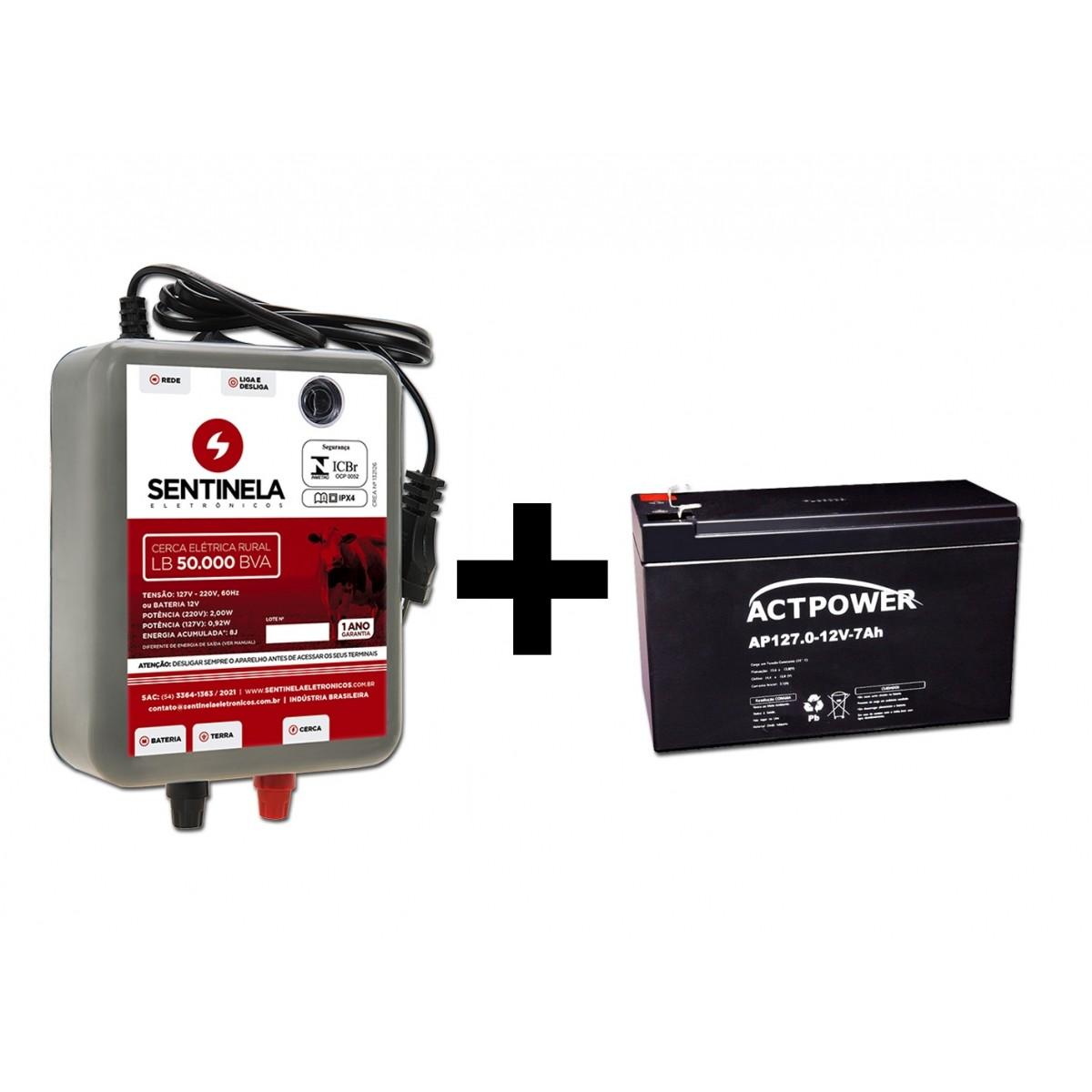 Eletrificador Cerca Rural 50.000 + Bateria Gel 7ah Bivolt