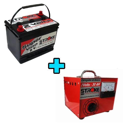 Vaso Auxiliar Stroke Power 450ah 2v + Carregador de Vaso 30ah 2v