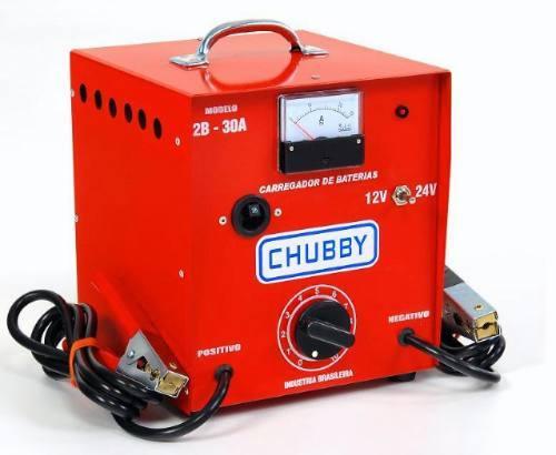 Carregador de Bateria Chubby 30ah 12v e 24v com Amperímetro Analógico