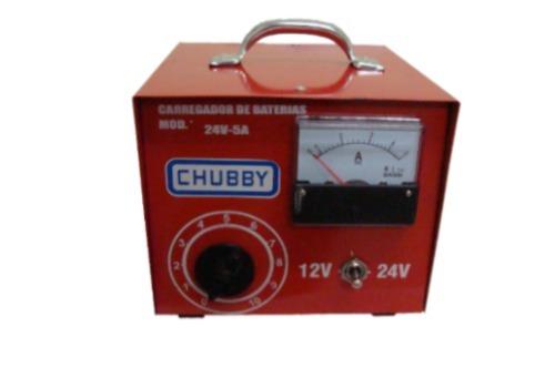 Carregador de Bateria Chubby 5ah 12v e 24v com Amperímetro Analógico