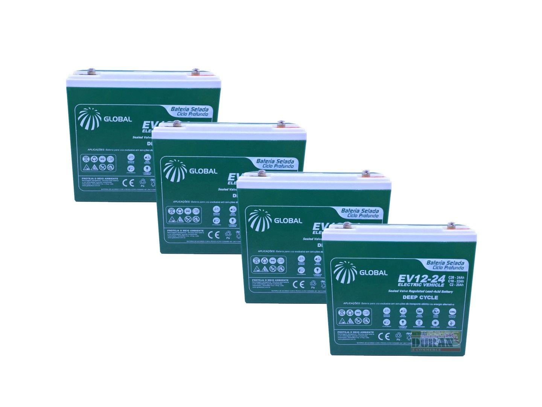 Kit 4 Bateria Global Selada 24ah 12v Tecnologia VRLA / AGM Ciclo Profundo