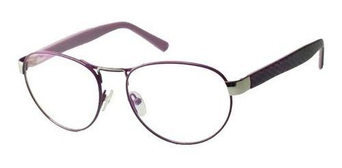 Armação De Oculos Grau Aviador 6049 Leve Confortável Roxo e Nude