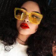 Oculos De Sol Transparente Amarelo Yellow Green Neon Square Sunglasses
