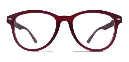 Armação De Óculos Redondo Wayfarer Matte Fosco Bordo Rosa