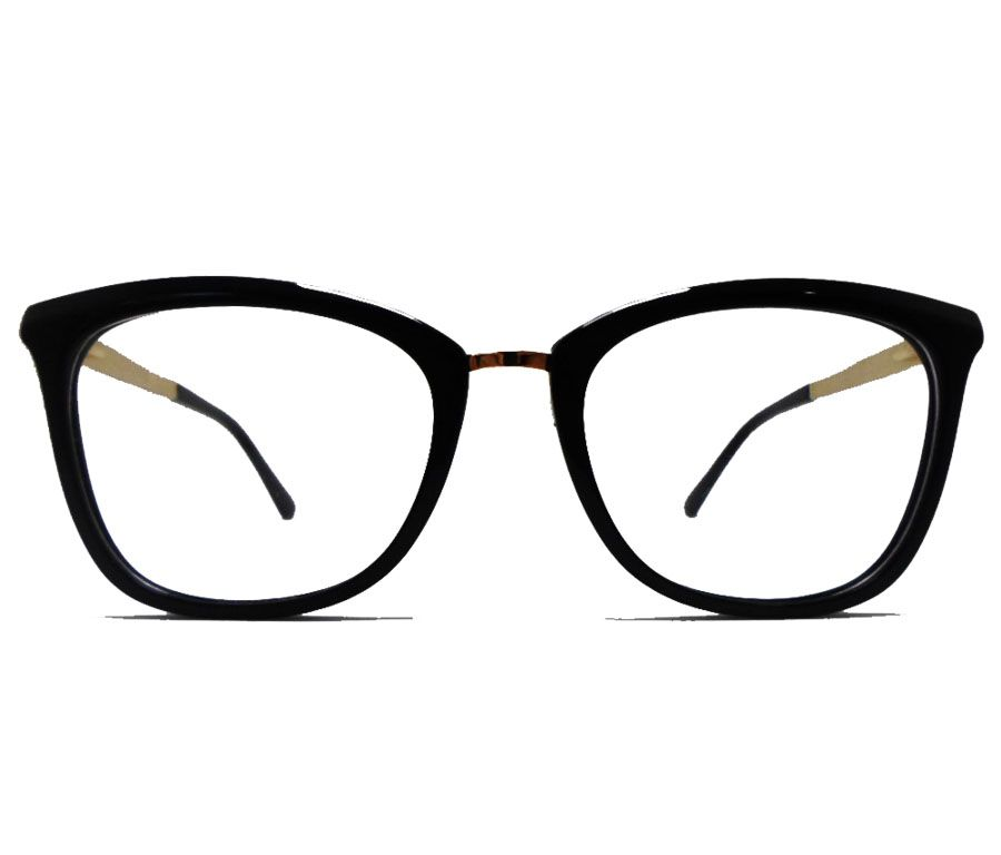 Armação de Oculos De Grau Gatinho Ponte grosso G5041 Black