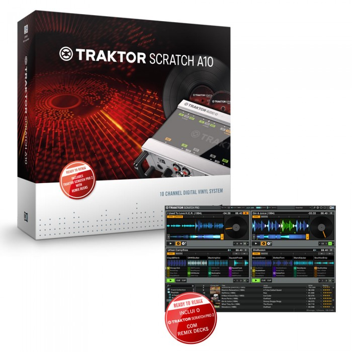 Native Traktor Scratch A10 Interface de Áudio, DVS Timecode
