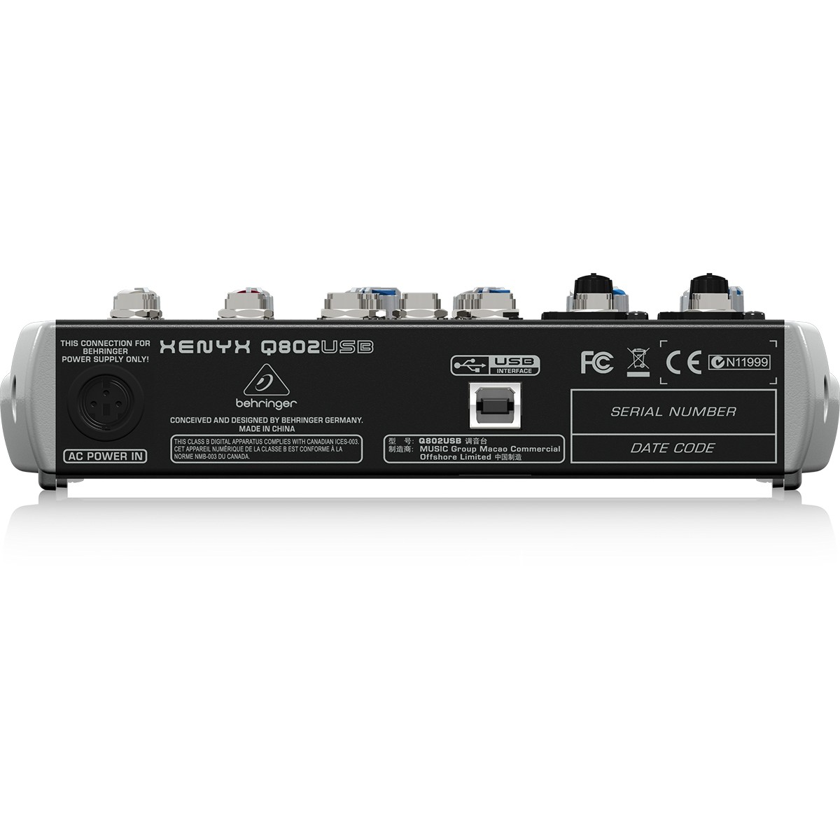 Behringer Xenyx Q802Usb Mesa de Som de 8 Canais Compacta, Mixer Analógico, 220v