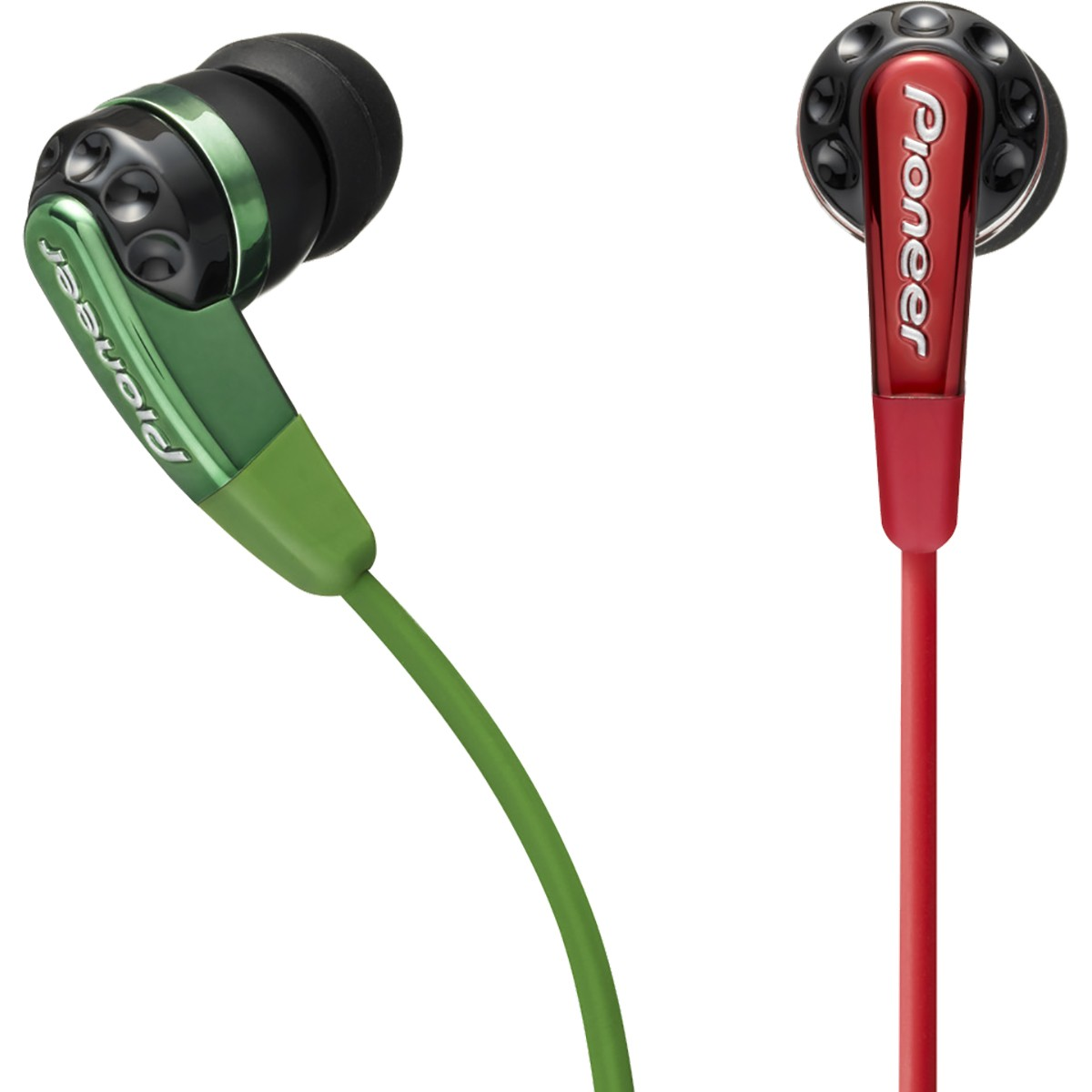 Pioneer SE-CL721 Fone de Ouvido, Verde / Vermelho