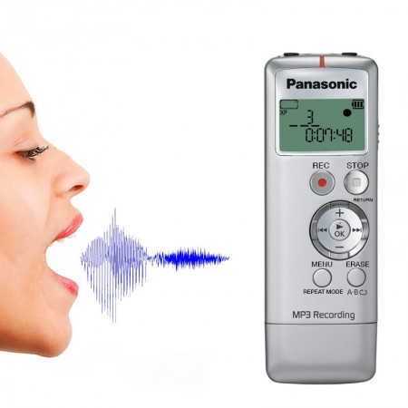 Panasonic RR-US310 Gravador Digital De Audio Voz, 2Gb, Prata