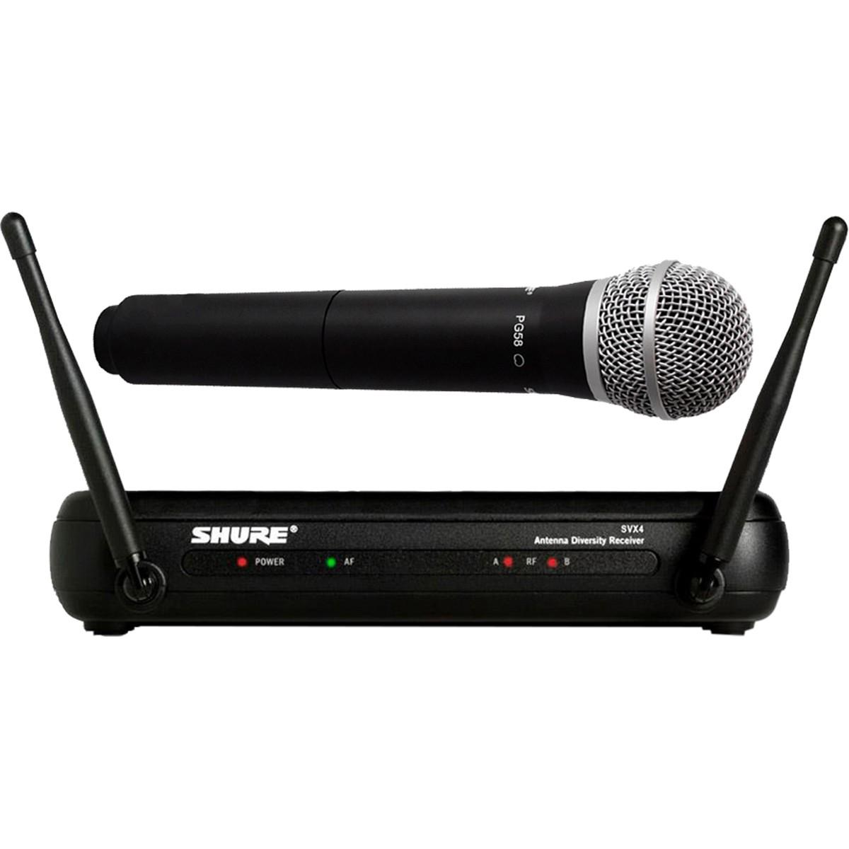 Shure SVX24/PG58 Sistema Microfone Sem Fio, De Mão, Bivolt