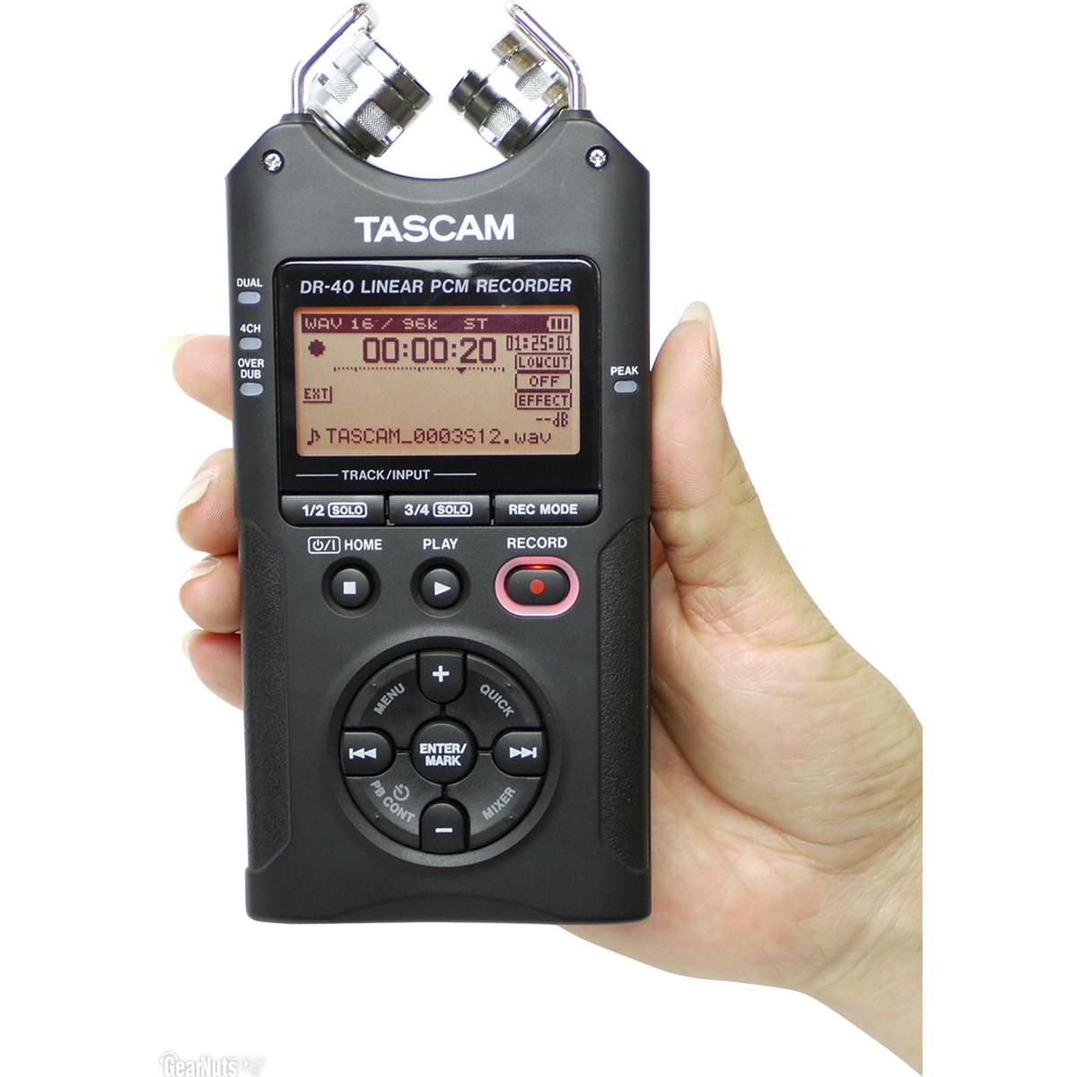 Tascam DR-40 Gravador Digital de Áudio Voz 4-Faixas, Preto, +2Gb