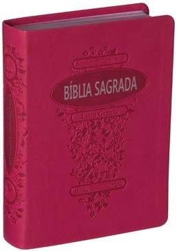 Bíblia Sagrada ARC com letra grande -Capa em couro sintético Pink - PROMESSAS PRECIOSAS
