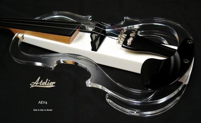 Violino Atelier Elétrico Acrílico Transparente AEV4 - Musical Perin