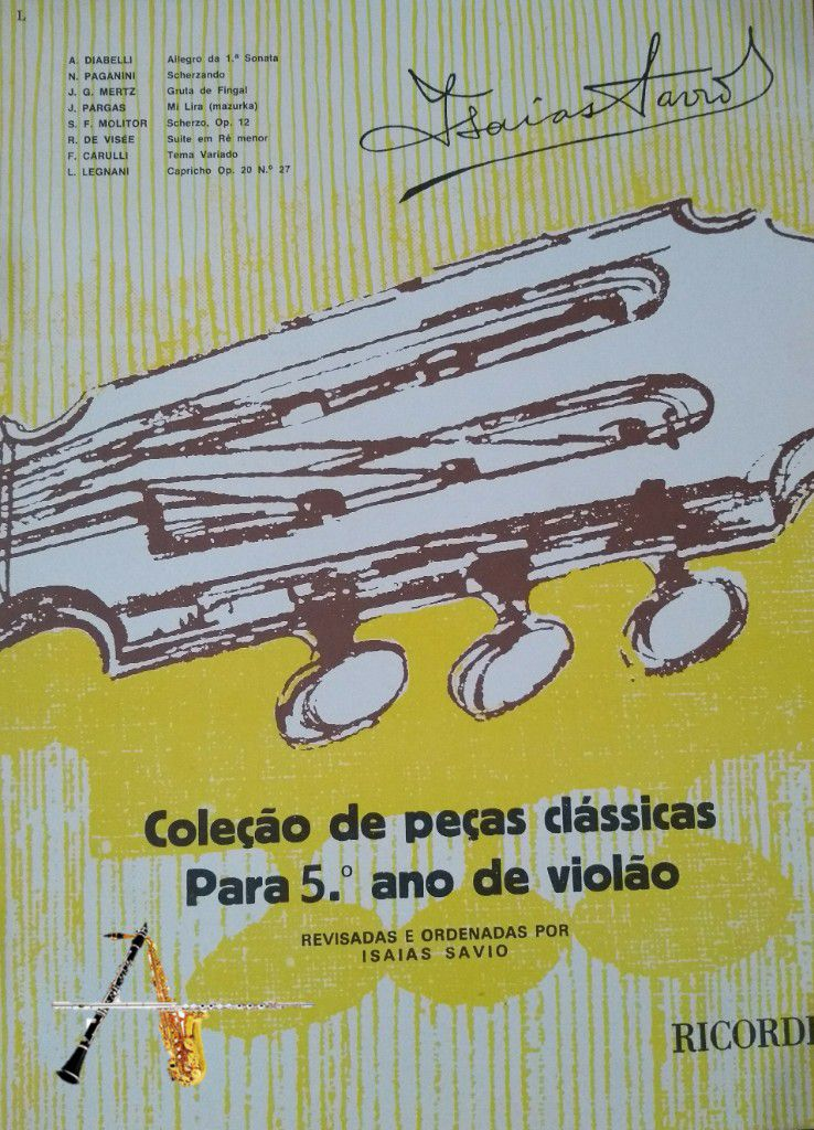Método Coleção de Peças Clássicas para o 5º ano de Violão - Isaías Savio - Musical Perin