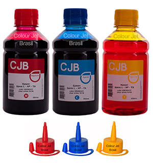 Kit de Tinta Impressora Epson L355 l365 l375 l395 Colors (3x250ml)