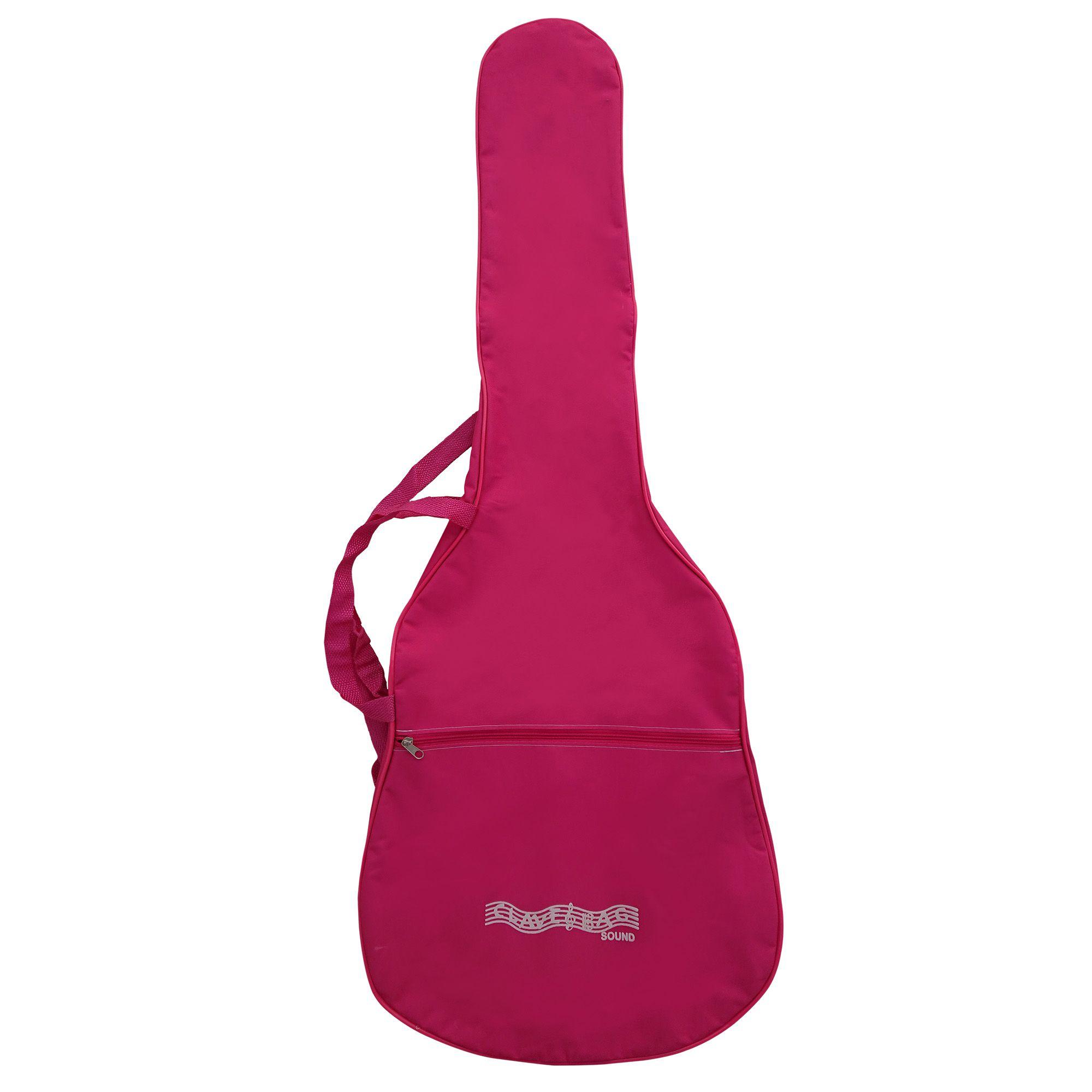 Capa Bag Para Violão Clássico Rosa Comum CLAVE & BAG. No formato do violão, alça de mão e tira colo. CMR502
