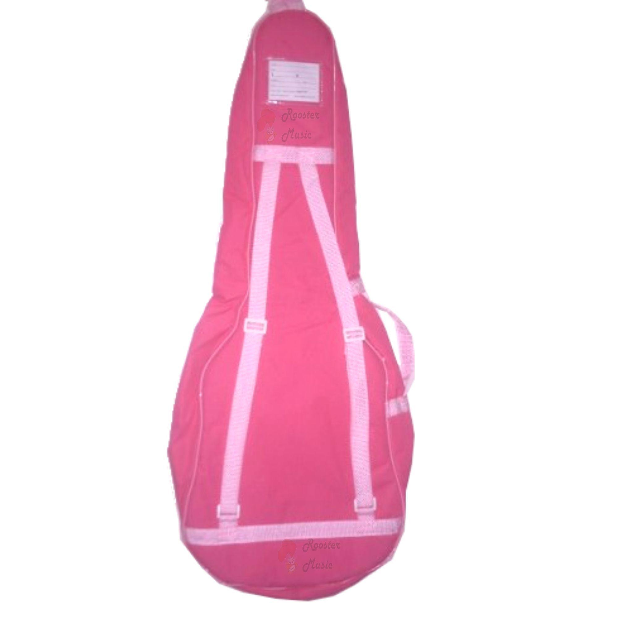 Capa Bag Para Violão Folk Rosa Super Luxo CLAVE & BAG. Totalmente acolchoada, alça de mão e de mochila. SLR503