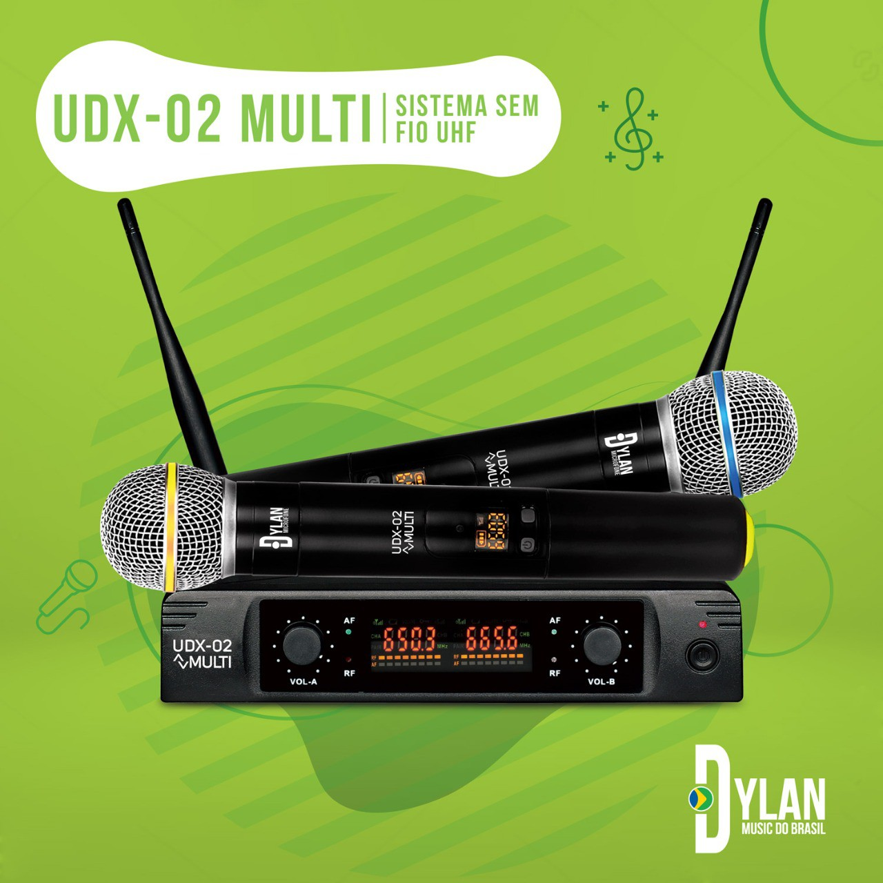 MICROFONE SEM FIO UDX-02 DYLAN 2x30 FREQUENCIAS