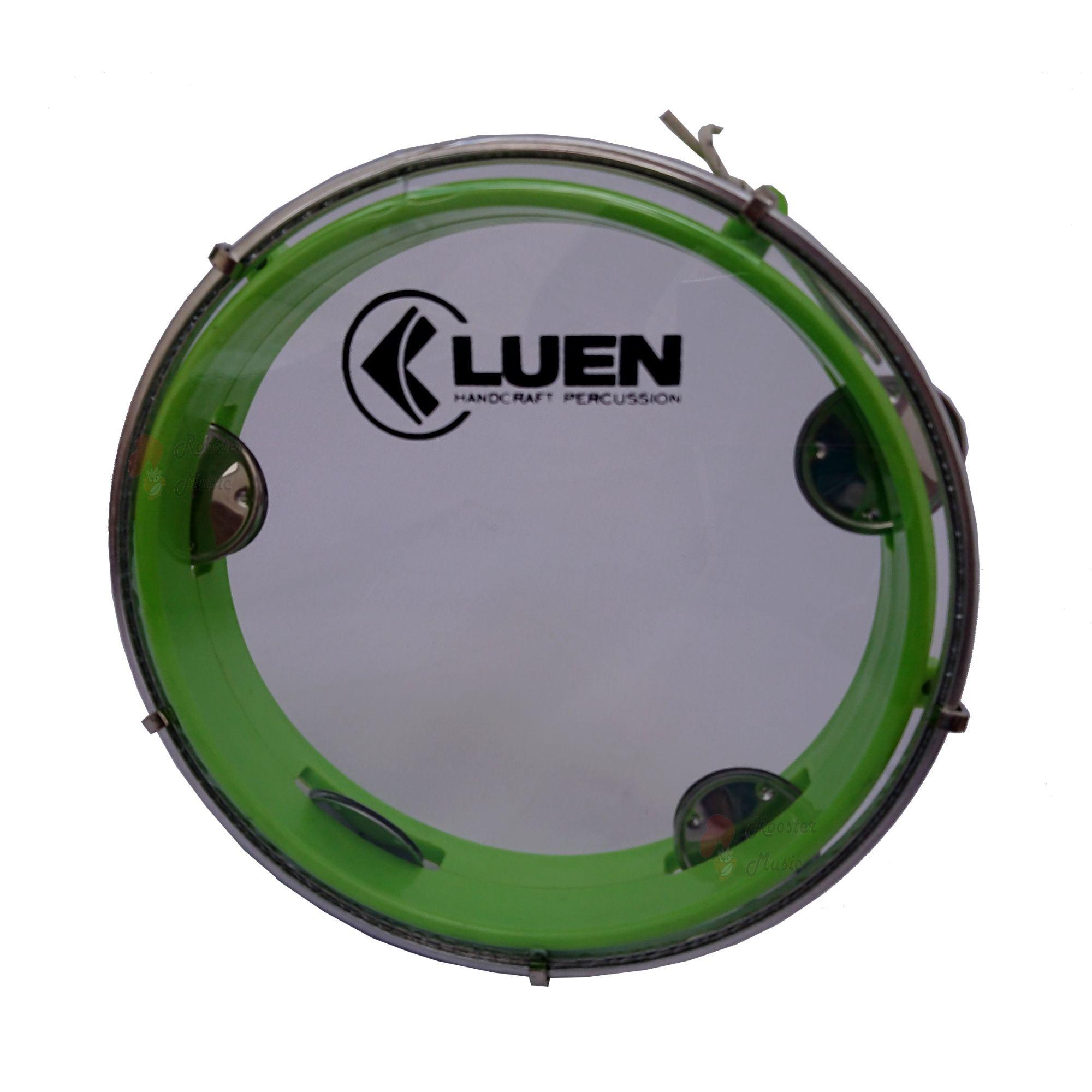 Pandeiro Luen 8 Junior Aro Abs Verde, Pele Cristal e plat inox. Brinquedo com qualidade profissional
