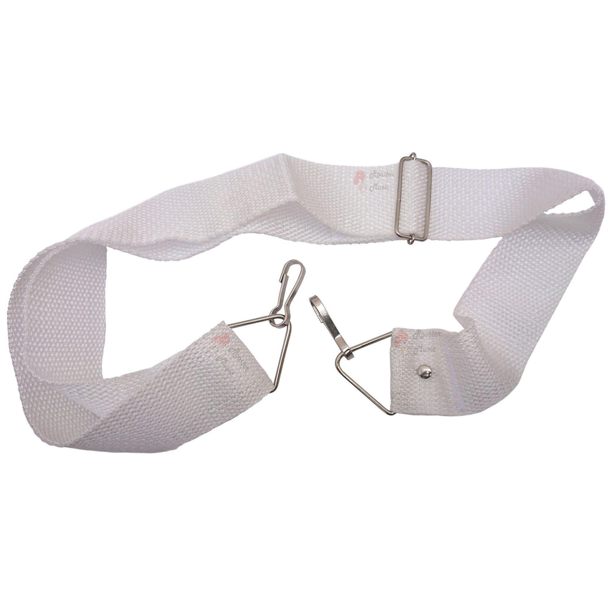 Talabarte Correia Branco Para Caixa de Guerra, Repique e Tarol de 2 Ganchos com Reforço CLAVE & BAG