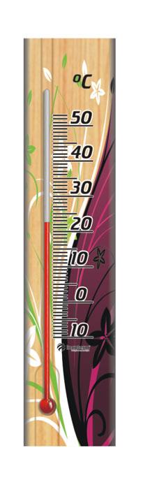 Termômetro Decorativo Ambiente com Base em Madeira Coleção Floral 229.05.1.07 - INCOTERM  - Shopping Prosaúde
