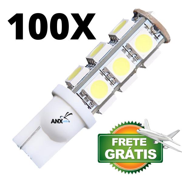 100 Lampadas Pingo T10 13 Leds Smd Branca  12V - ENVIO INTERNACIONAL