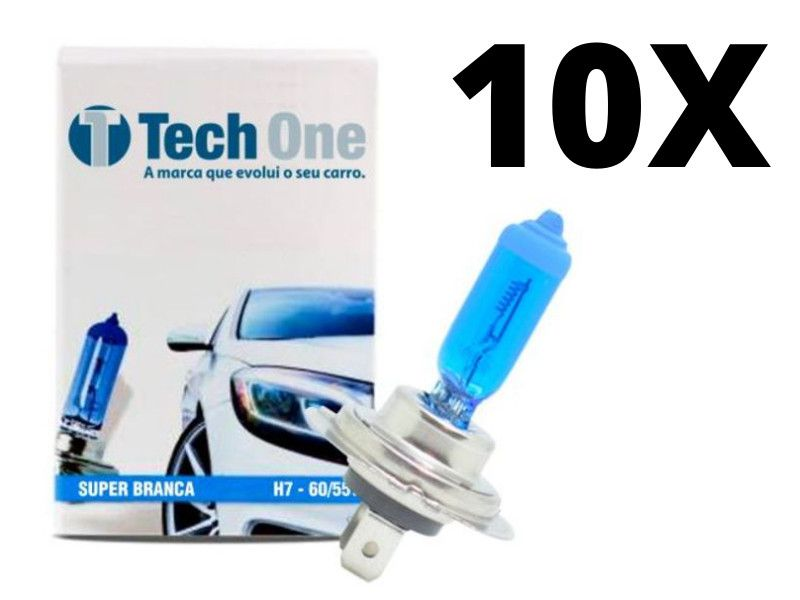 10 Lampadas Super Branca Tipo Xenon 8500k H7 55w Techone