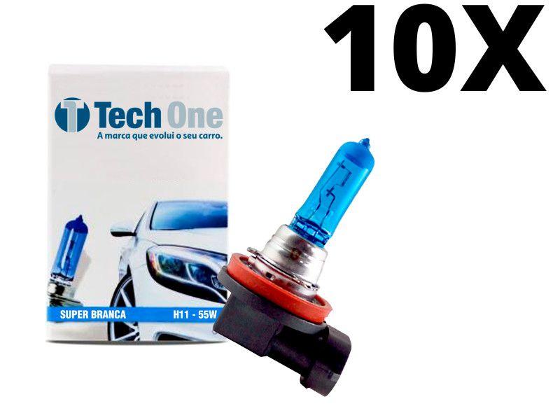 10 Lâmpadas Super Brancas H11  Efeito Xenon TECHONE 55W - 8500k